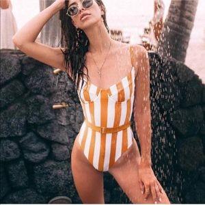Orange striped swimsuit